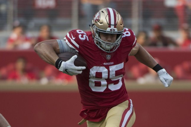 San Francisco 49ers tight end George Kittle suffered the knee injury in last week's loss to the Arizona Cardinals. File Photo by Terry Schmitt/UPI