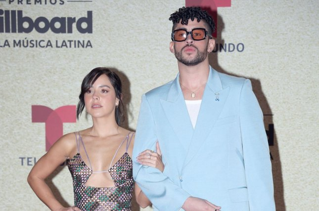 Gabriela Berlingeri and Bad Bunny (R) arrive on the red carpet at the 2021 Latin Billboard Music Awards at the University of Miami, Watsco Center, Thursday, in Coral Gables, Fla. Bad Bunny dominated the awards, winning Artist of the Year after entering the night with 22 nominations across 13 categories. Photo by Gary I Rothstein/UPI