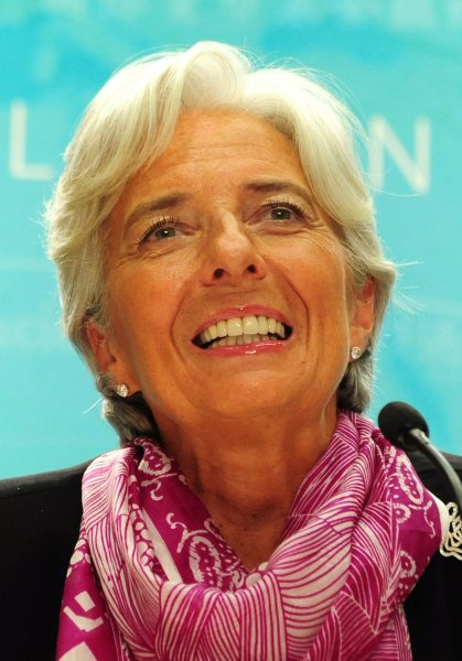 International Monetary Fund (IMF) Managing Director Christine Lagarde holds a news briefing at the IMF headquarters in Washington, D.C. on July 6, 2011. UPI/Kevin Dietsch