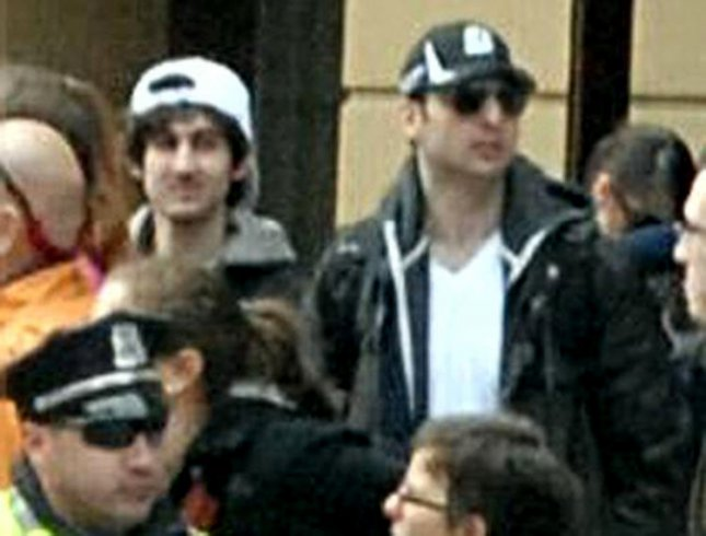 The FBI released a photo of Suspect 1 and Suspect 2 (L) in surveillance video from the Boston Marathon. Suspect 1 is now identified as now identified as Tamerlan Tsarnaev, 26, and Suspect 2 is his brother Dzhokhar Tsarnaev, 19, both of Cambridge, Massachusetts on April 19, 2013. Both are suspected of planting the bombs that killed three and injured 170 during the Boston Marathon on April 15, 2013. Tamerlan was killed by police on April 18, 2013 and Dzhokhar is still on the loose near Boston. (FBI release/UPI)
