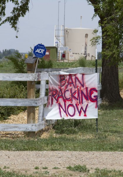 Residents protest fracking at the Niobrara oil shale formation in Weld County, Colo., on May 30, 2012. Maryland's Senate approved legislationMonday to ban fracking in the state. Photo by Gary C. Caskey/UPI