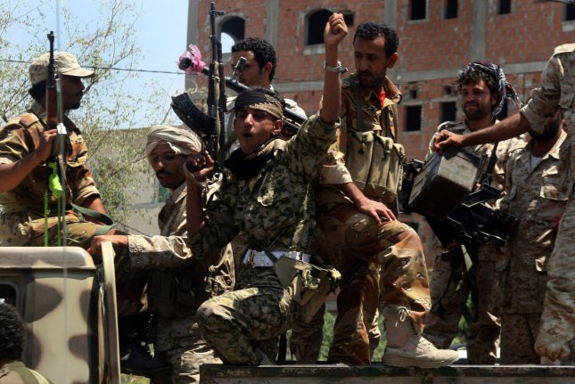 Militants loyal to Yemen's President Abed Rabbo Mansour Hadi take their positions in Taiz, Yemen, March, 30, 2015. The United States military has been engaged in Yemen since 2015 but a vote on Tuesday could end its operations there. File Photo by Anees Mahyoub/UPI
