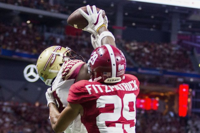 Florida State Seminoles receiver Auden Tate goes up for a touchdown reception against Alabama Crimson Tide cornerback Minkah Fitzpatrick (29) in the first half of the Chick-fil-A Kickoff game on September 2, 2017 at Mercedes-Benz Stadium in Atlanta. Photo by Mark Wallheiser/UPI