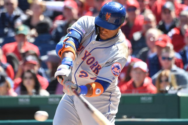 All-Star slugger Robinson Cano was traded to the New York Mets in December. Cano was suspended for 80 games in 2018 after testing positive for a banned substance while he was a member of the Seattle Mariners. Photo by Pat Benic/UPI