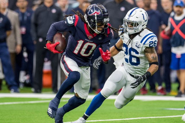 Houston Texans wide receiver DeAndre Hopkins' (10) mother will have her story told in a new movie. Sabrina Greenlee, Hopkins' mother, will be the subject of a film that will tell the story of her life. File Photo by Trask Smith/UPI