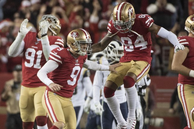 San Francisco 49ers kicker Robbie Gould (9) made a game-winning field goal as time expired to beat the Los Angeles Rams Saturday in Santa Clara, Calif. Photo by Terry Schmitt/UPI