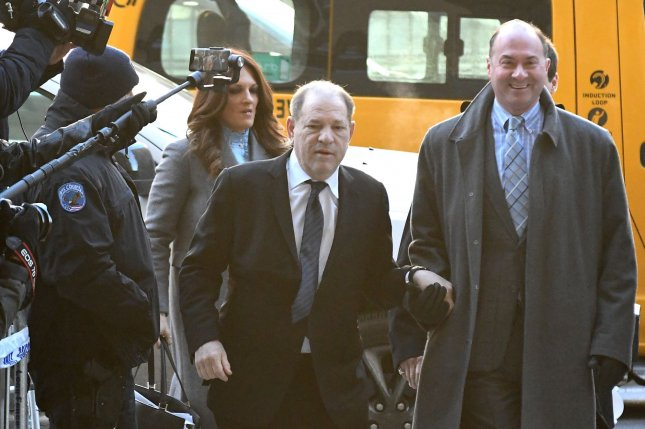 Former film producer Harvey Weinstein arrives at Manhattan Supreme Court in New York City on January 22 for opening arguments in his sexual assault trial. Photo by Louis Lanzano/UPI