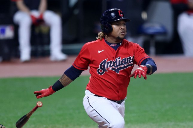 Cleveland Indians manager Terry Francona said Jose Ramirez (pictured) and Franmil Reyes were sent home Saturday morning after the pair informed the team that they ate inside a local restaurant following Friday's exhibition game. File Photo by Aaron Josefczyk/UPI