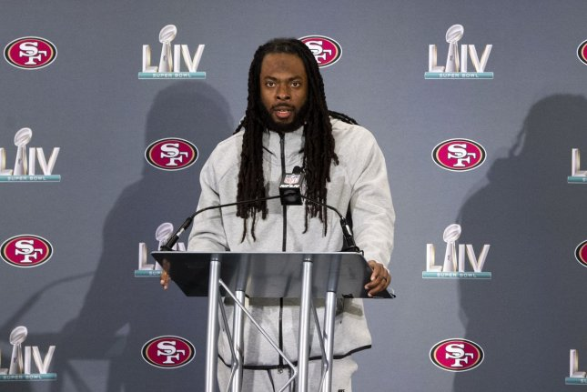 Former San Francisco 49ers cornerback Richard Sherman, shown Jan. 29, 2020, is currently a free agent in the NFL. File Photo by Kevin Dietsch/UPI
