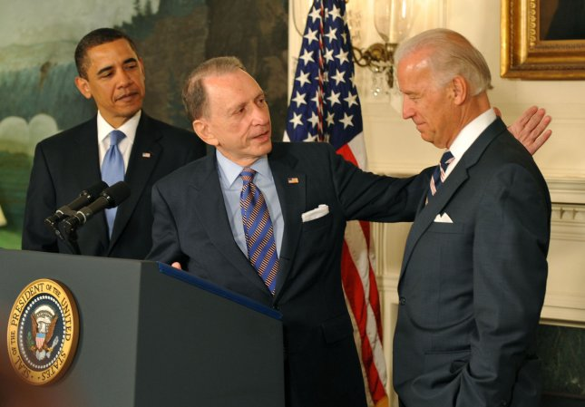 Sen. Arlen Specter of Pennsylvania (C) pats Vice President Joe Biden on the back as President Barack Obama looks on April 29, 2008. Specter visited the White House a day after his switch from the GOP to the Democratic Party(UPI Photo/Kevin Dietsch)