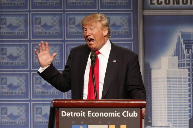 Republican U.S presidential nominee Donald Trump addresses the Detroit Economic Club where he introduced his economic plan in Detroit, Michigan, August 9, 2016. Photo by Rebecca Cook/UPI