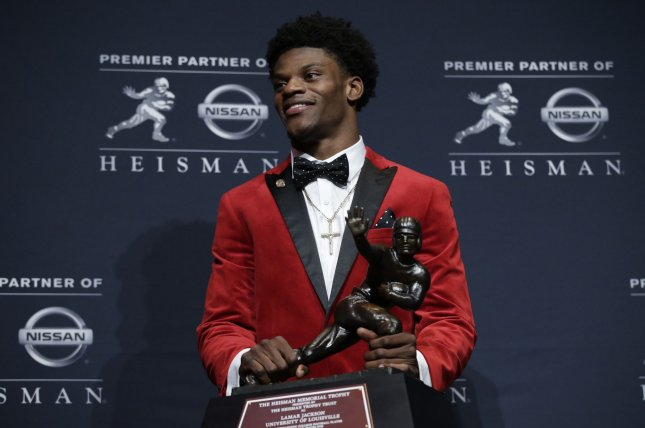 Heisman Trophy winner Lamar Jackson of Louisville headed the 2016 Associated Press All-America college football team announced on Monday. Jackson guided the Cardinals to a 9-3 mark by throwing 30 touchdown passes and rushing for 21 other scores. Photo by John Angelillo/UPI