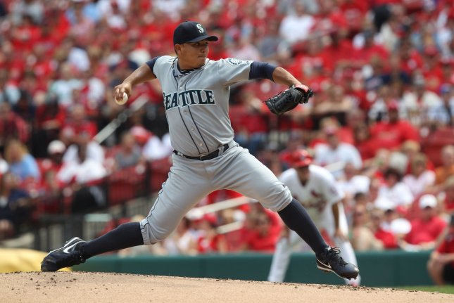 Seattle Mariners starting pitcher Erasmo Ramirez delivers a pitch to the St. Louis Cardinals in the second inning on September 15, 2013 at Busch Stadium in St. Louis. File photo by Bill Greenblatt/UPI