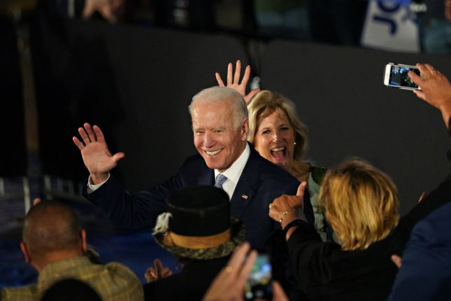 Democratic presidential candidate Vice President Joe Biden and his wife Dr. Jill Biden arrive at their victory party after he was declared the winner in the South Carolina primary, Saturday, in Columbia. Photo by Richard Ellis/UPI