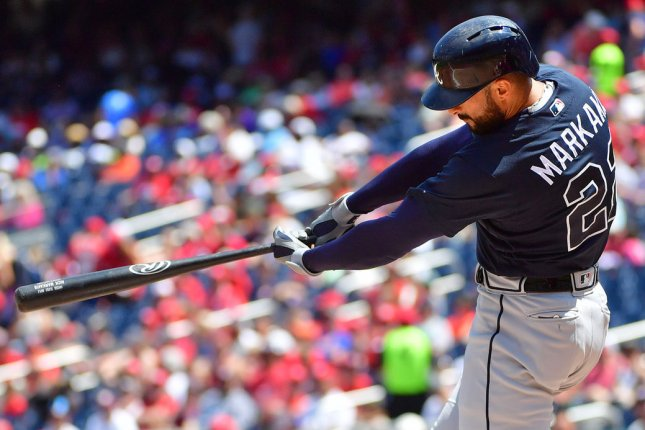 Atlanta Braves right fielder Nick Markakis went 0 for 1 in his 2020 MLB season debut Wednesday before he hit a walk-off homer in his first start Thursday in Atlanta. File Photo by Kevin Dietsch/UPI