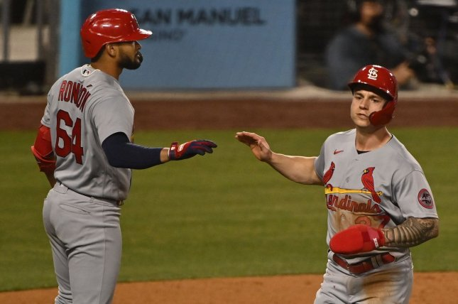 St. Louis Cardinals outfielder Tyler O'Neill (R) scores the go-ahead run in the ninth inning of a win against the Los Angeles Dodgers on Tuesday at Dodger Stadium in Los Angeles. Photo by Jim Ruymen/UPI