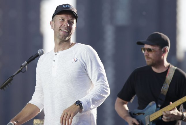 Chris Martin and Coldplay perform during a sound check before they tape a free concert in June 2021. File Photo by John Angelillo/UPI
