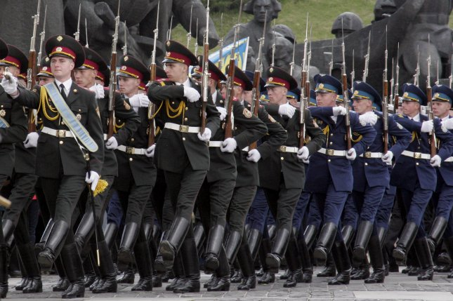 Ukrainian soldiers march to mark the end of World War II in Kiev on May 9, 2006. (UPI Photo/Sergey Starostenko)