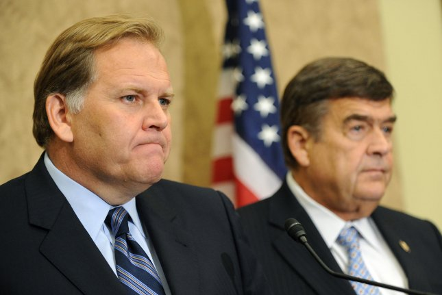 House Intelligence Chairman Mike Rogers, R-MIch. (L), and ranking member Rep. Dutch Ruppersberger, D-Md. UPI/Kevin Dietsch