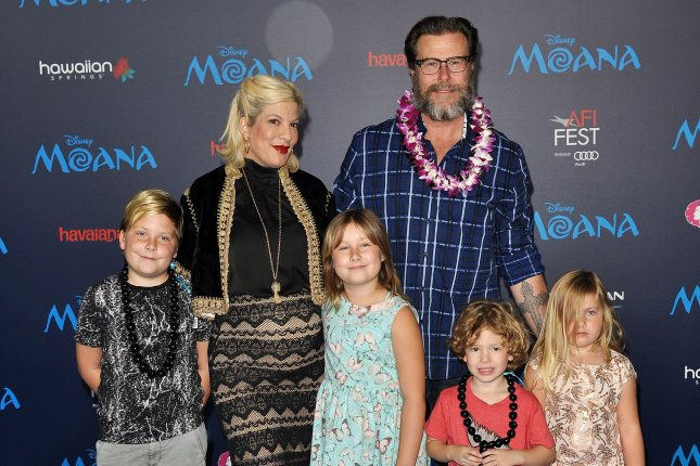Tori Spelling with husband Dean McDermott and their children Liam, Stella, Finn and Hattie at the Los Angeles premiere of Moana on November 14. File Photo by Christine Chew/UPI