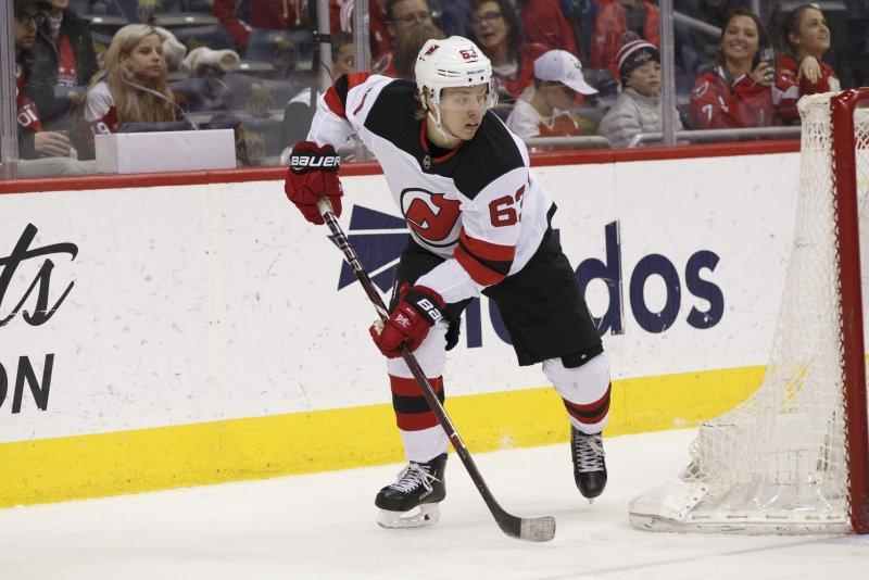 New Jersey Devils left wing Jesper Bratt (63). Photo by Alex Edelman/UPI