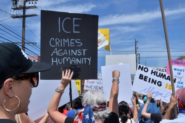 Activists gather for a rally to oppose the Trump administration's immigration policies, at MacArthur Park in Los Angeles, Calif., on July 21, 2018. File Photo by Jim Ruymen/UPI