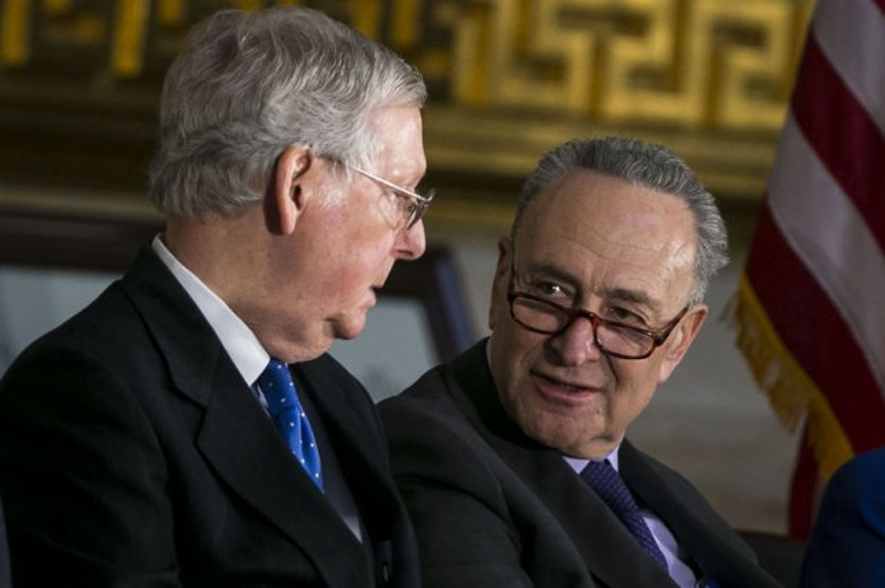 Senate Republican leader Mitch McConnell (L) is pictured with Senate Democratic leader Chuck Schumer at the U.S. Capitol in Washington D.C. File Photo by Al Drago/UPI
