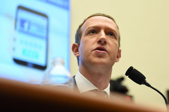 Facebook CEO Mark Zuckerberg testifies before Congress on October 23, 2019. The company declined to pay Australian news organizations for publishing links to their content on the social network. File Photo by Pat Benic/UPI
