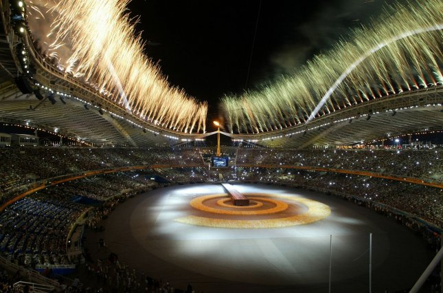 Fireworks lite the sky at the closing ceremonies in the Olympic Stadium of the 2004 Athens Summer Olympic Games, August 29, 2004. (UPI Photo/ Claus Andersen)