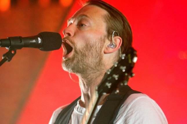 Thom Yorke with Radiohead performs on the bands 2012 tour opener at the American Airlines Arena in Miami on February 27, 2012. The band announced they will be performing a set of live shows for the first time since 2012. File Photo by Michael Bush/UPI