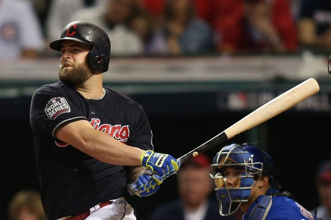 Cleveland Indians first baseman Mike Napoli singles scoring teammate Jason Kipnis from second base during the fourth inning against the Chicago Cubs in game 6 of the World Series at Progressive Field in Cleveland, Ohio on November 1, 2016. Photo by Aaron Josefczyk/UPI