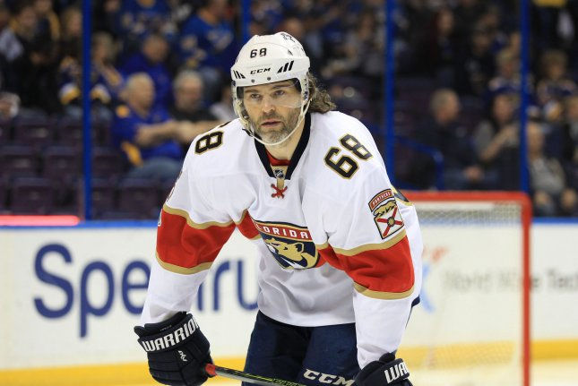 Former Florida Panthers forward and current Calgary Flames member Jaromir Jagr of the Czech Republic waits for the drop of the puck to start a game against the St. Louis Blues at the Scottrade Center in St. Louis on February 20, 2017. File photo by Bill Greenblatt/UPI