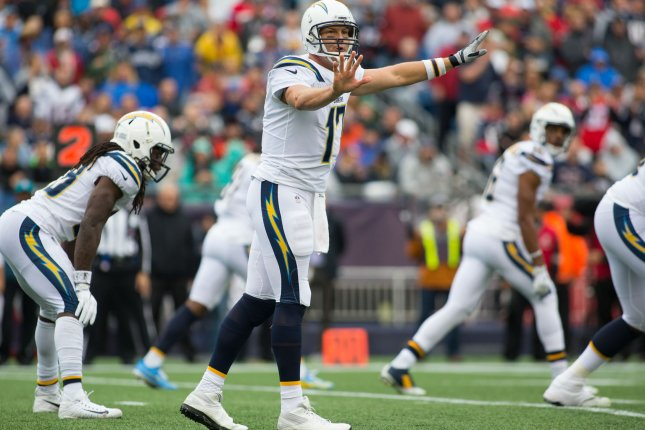Los Angeles Chargers quarterback Philip Rivers (17) gives an audible on the line of scrimmage against the New England Patriots in the second quarter on October 29 at Gillette Stadium in Foxborough, Mass. Photo by Matthew Healey/UPI