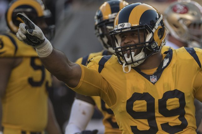 b5a52a189 Los Angeles Rams defensive tackle Aaron Donald (99) celebrates sacking San  Francisco 49ers quarterback C.J. Beathard in the fourth quarter on October  21 at ...