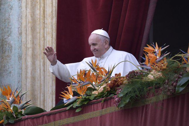 Pope Francis delivers an address in St. Peter's Square at the Vatican on April 21. Photo by Stefano Spaziani/UPI