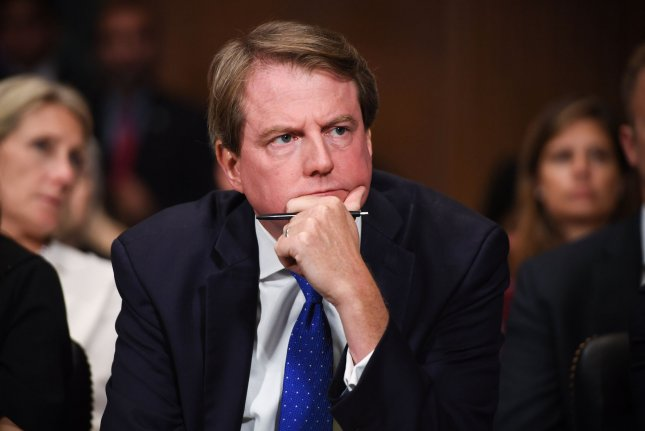 White House counsel Donald McGahn appears on Capitol Hill in Washington, D.C., on September 27, 2018. File Photo by Saul Loeb/UPI