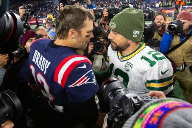 Tom Brady (L) and Aaron Rodgers (R) have split their two head-to-head matchups during their decorated NFL careers. File Photo by Matthew Healey/UPI