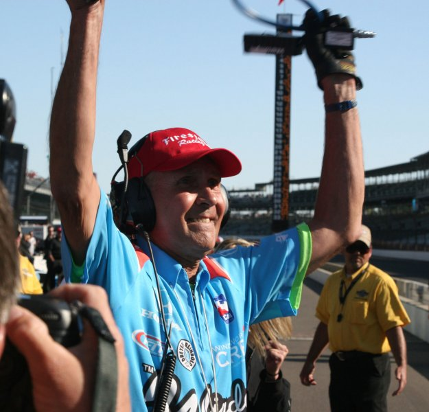 With only 8 minutes to go, jubilation shows on John Andretti's crew as his speed was fast enough to bump his way back into the starting field on his final attempt on May 17, 2009 at the Indianapolis Motor Speedway in Indianapolis, Indiana. (UPI Photo/Ed Locke)