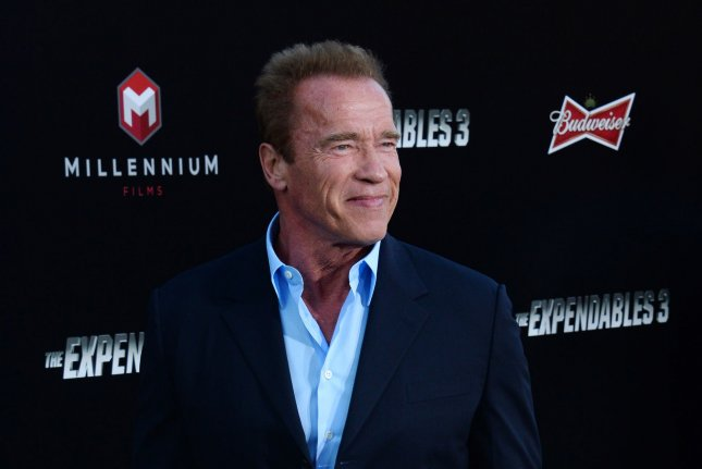 Actor Arnold Schwarzenegger performed abridged versions of his movies in a six-minute comedy skit on the Late Late Show with host James Corden on Monday. Photo by Jim Ruymen/UPI