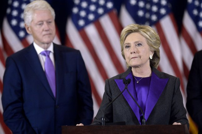 Hillary Clinton, seen here delivering her concession speech in New York City on November 9, has over 2 million more votes than Donald Trump in the national popular vote. She lost the election under the U.S. Electoral College system. Pool photo by Olivier Douliery/UPI