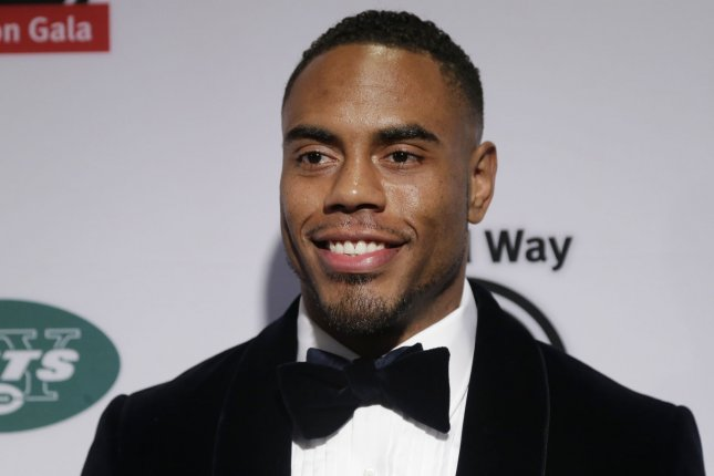 Rashad Jennings arrives on the red carpet at the XXIII Gridiron Gala at New York Hilton Midtown on May 10, 2016. He and his partner Emma Slater won Dancing with the Stars Tuesday night. File Photo by John Angelillo/UPI