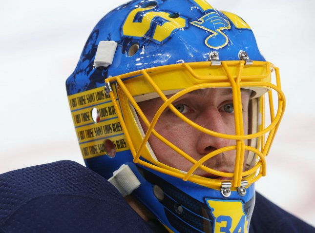 St. Louis Blues goaltender Jake Allen looks on during warm-ups before a game against the Arizona Coyotes in January. Photo by Bill Greenblatt/UPI