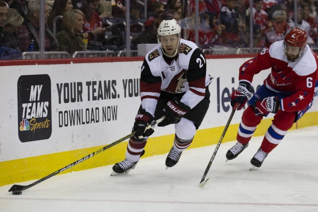 Arizona Coyotes center Derek Stepan (21) scored the game-winner against the New York Rangers on Friday in New York City. Photo by Alex Edelman/UPI