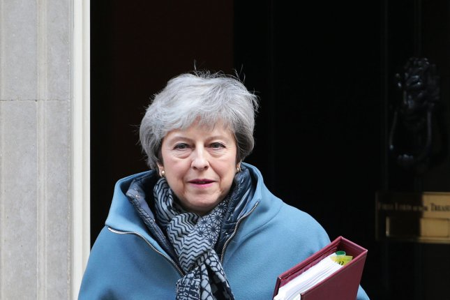 The Conservative Party of British Prime Minister Theresa May, who failed to solidify Brexit before the European elections began Thursday, has polled at 10 percent compared to Nigel Farage's new Brexit party, which has polled at more than 30 percent. File Photo by Hugo Philpott/UPI