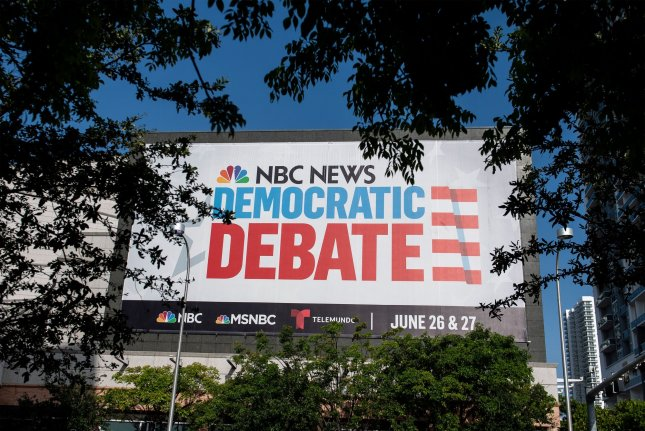 A sign for the NBC News Democratic debate is seen Wednesday at the Knight Concert Hall in Miami, Florida. Photo by Kevin Dietsch/UPI