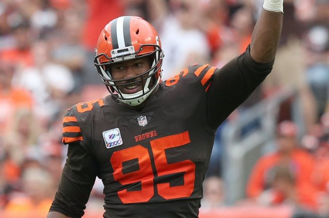 Cleveland Browns defensive lineman Myles Garrett said on social media that he was punched in the face after a fan flagged him down for a picture. File Photo by Aaron Josefczyk/UPI