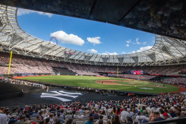 The Boston Red Sox faced the New York Yankees in the first two Major League Baseball games ever played in Europe on June 29 and June 30 in London. File Photo by Mark Thomas/UPI