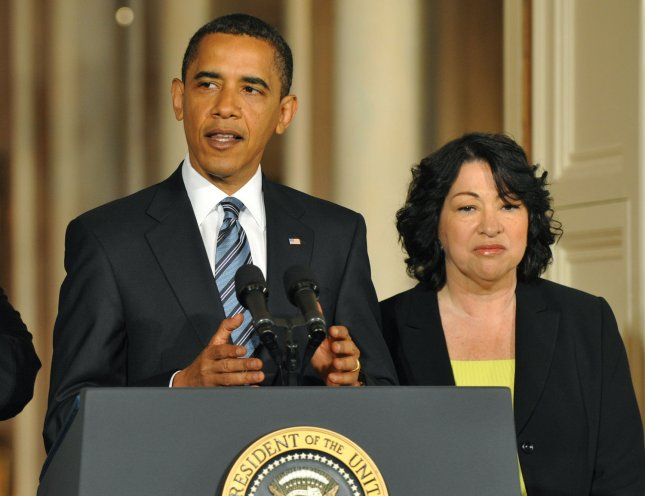 President Barack Obama announces U.S. Court of Appeals Judge Sonia Sotomayor as his Supreme Court Justice nominee to replace retiring Justice David Souter, at the White House in Washington on May 26, 2009. If Sotomayor is confirmed she would be the first Hispanic women to serve on the Supreme Court. (UPI Photo/Kevin Dietsch)