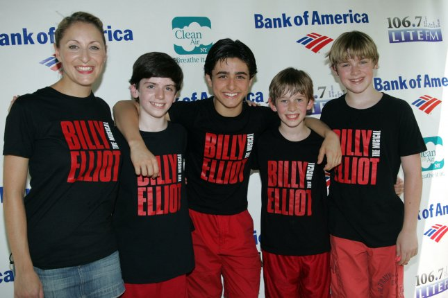 The cast of Billy Elliott (L-R) Liz Pearce, Peter Mazurowski, Giuseppe Bausillio, Tade Biesinger and Joseph Harrington arrive for 106.7 Lite FM's Broadway in Bryant Park in Bryant Park in New York on July 21, 2011. UPI /Laura Cavanaugh