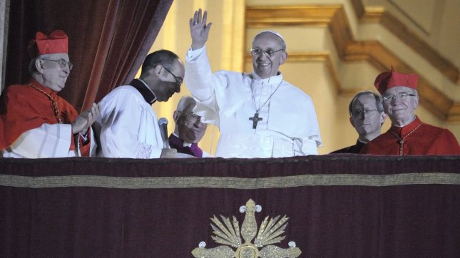 Argentina's Jorge Bergoglio, elected Pope Francis, waves from the window of St Peter's Basilica's balcony after being elected the 266th pope of the Roman Catholic Church on March 13, 2013 at the Vatican. He became the first non-European pope in nearly 1,300 years. UPI/Stefano Spaziani